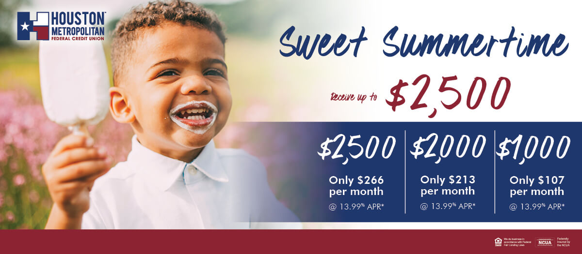 Sweet Summertime Loans up to $2,500
